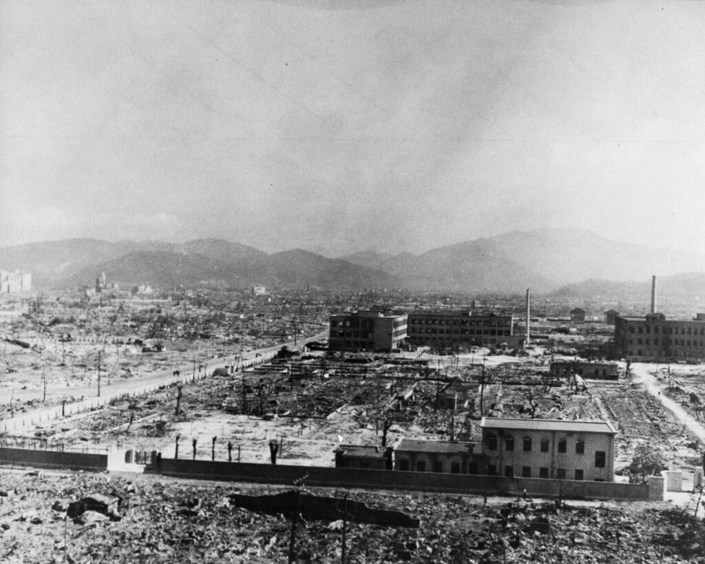 A victim from Hiroshima suffers disfiguration from the nuclear explosion and its aftermath.