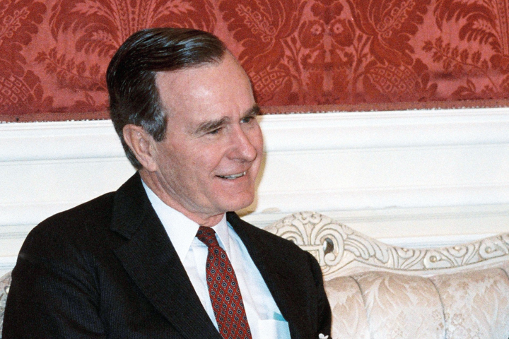 George Bush Greets Herbert W Armstrong At Kennedy Center
