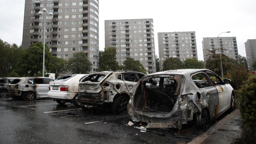 180822 Sweden Burned Cars GettyImages 1016421246